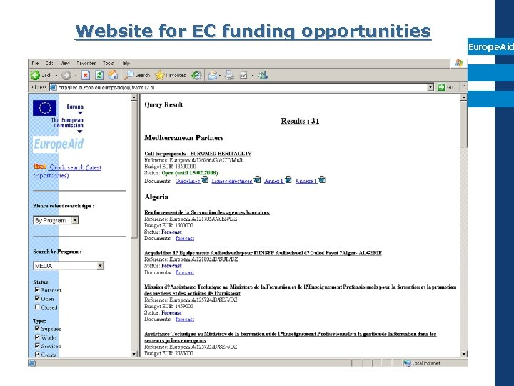Website for EC funding opportunities Europe. Aid