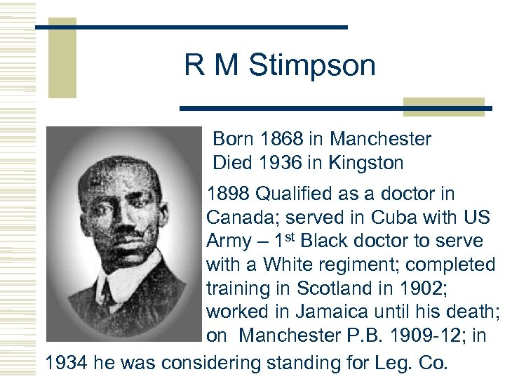 R M Stimpson Born 1868 in Manchester Died 1936 in Kingston 1898 Qualified as