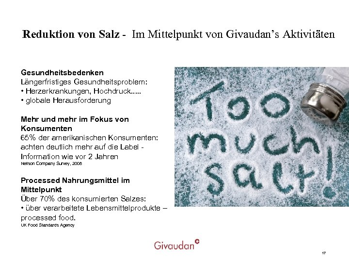 Reduktion von Salz - Im Mittelpunkt von Givaudan's Aktivitäten Gesundheitsbedenken Längerfristiges Gesundheitsproblem: • Herzerkrankungen,
