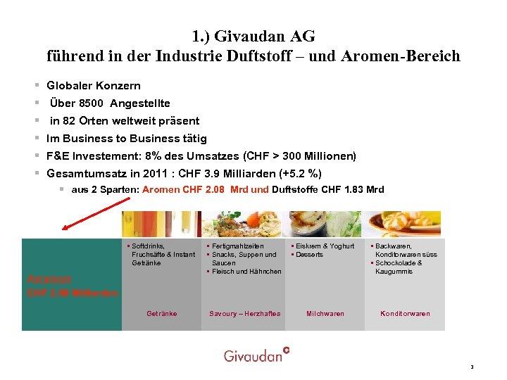 1. ) Givaudan AG führend in der Industrie Duftstoff – und Aromen-Bereich § §