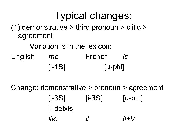 Typical changes: (1) demonstrative > third pronoun > clitic > agreement Variation is in