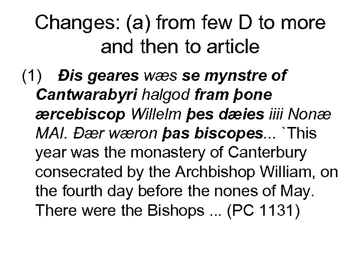 Changes: (a) from few D to more and then to article (1) Đis geares
