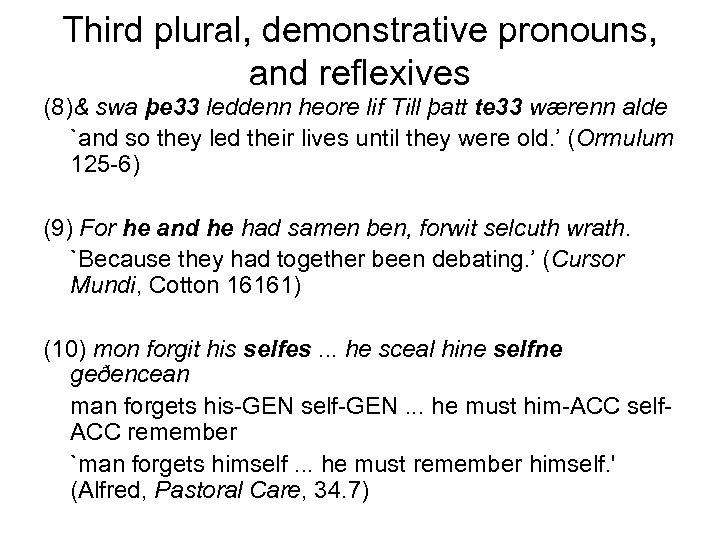 Third plural, demonstrative pronouns, and reflexives (8)& swa þe 33 leddenn heore lif Till