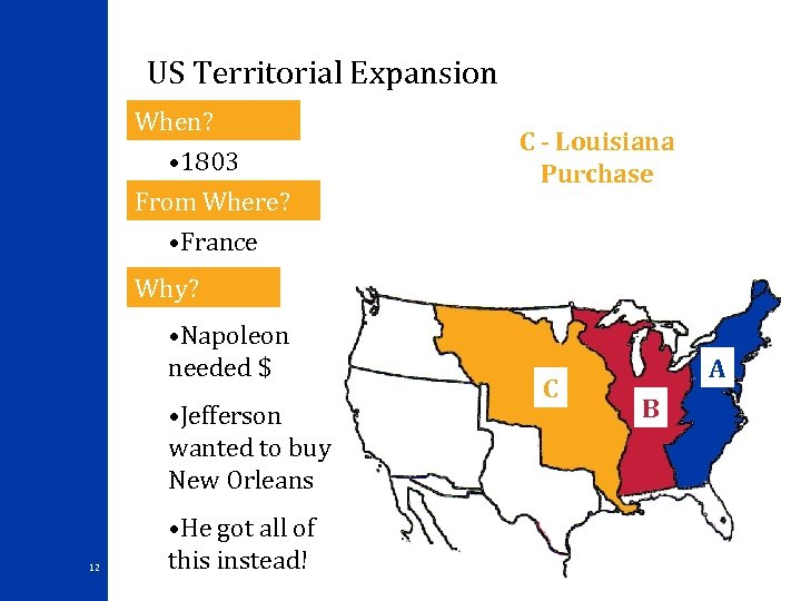 US Territorial Expansion When? • 1803 From Where? • France C - Louisiana Purchase