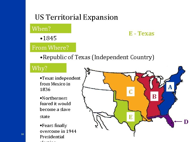 US Territorial Expansion When? E - Texas • 1845 From Where? • Republic of