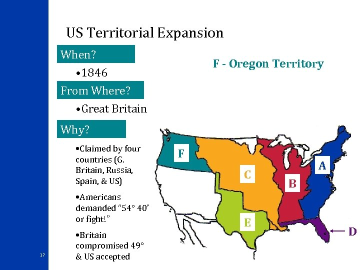 US Territorial Expansion When? F - Oregon Territory • 1846 From Where? • Great