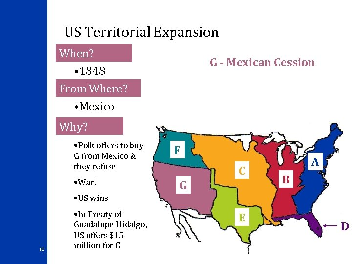 US Territorial Expansion When? G - Mexican Cession • 1848 From Where? • Mexico