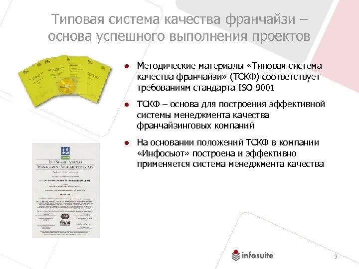 Типовая система качества франчайзи – основа успешного выполнения проектов ● Методические материалы «Типовая система