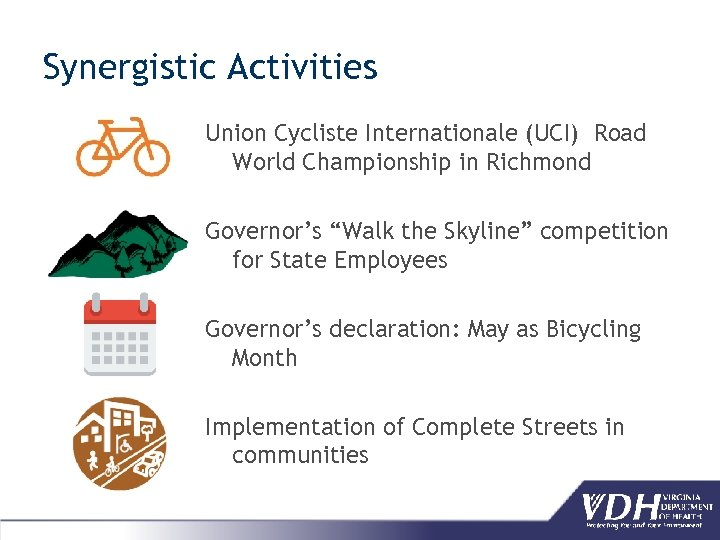 """Synergistic Activities Union Cycliste Internationale (UCI) Road World Championship in Richmond Governor's """"Walk the"""