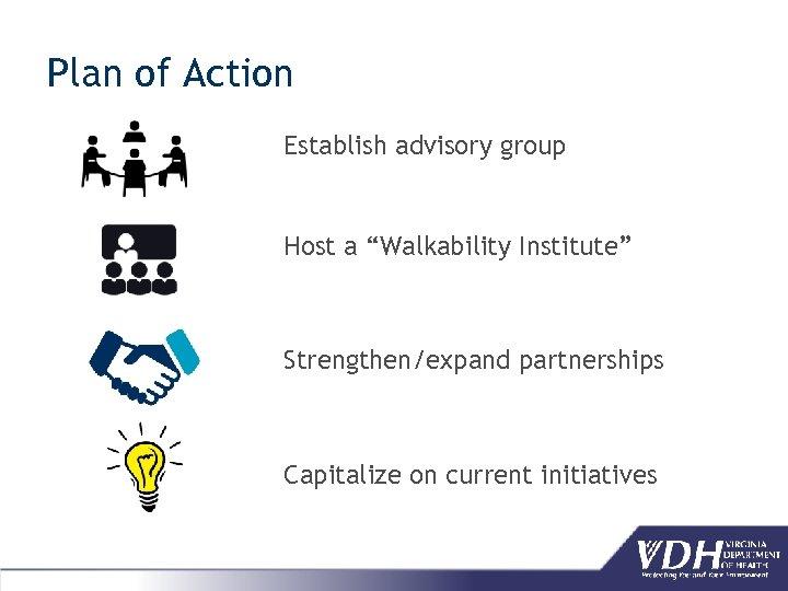 "Plan of Action Establish advisory group Host a ""Walkability Institute"" Strengthen/expand partnerships Capitalize on"