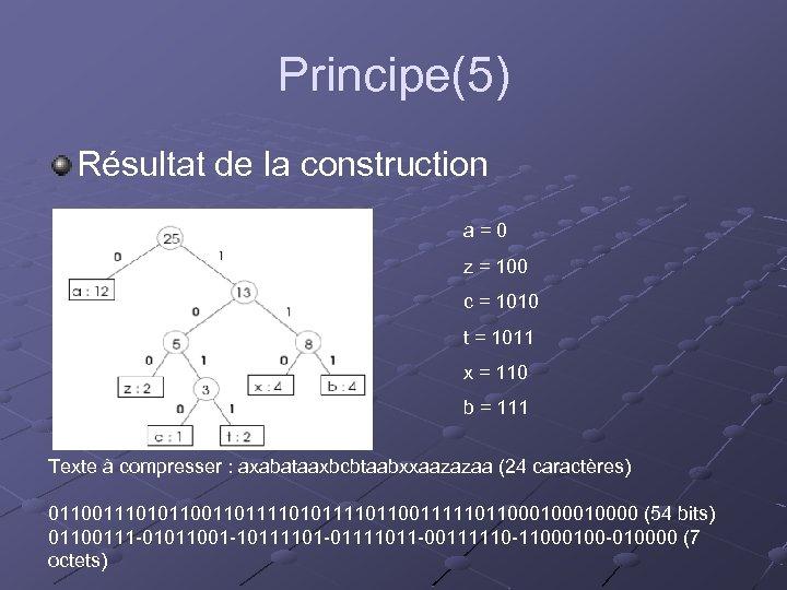 Principe(5) Résultat de la construction a=0 z = 100 c = 1010 t =