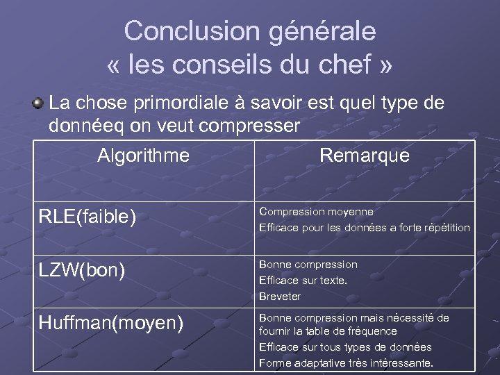 Conclusion générale « les conseils du chef » La chose primordiale à savoir est