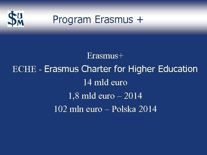 Program Erasmus + Erasmus+ ECHE - Erasmus Charter for Higher Education 14 mld euro