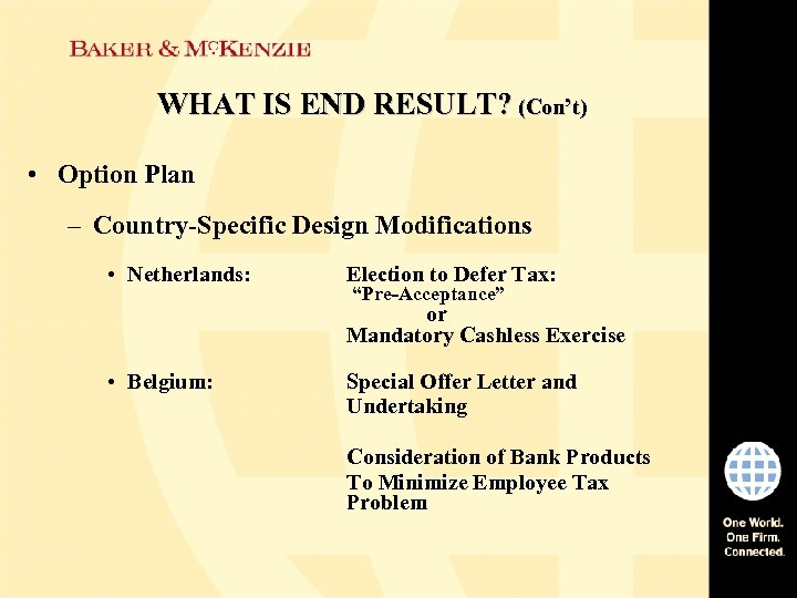 WHAT IS END RESULT? (Con't) • Option Plan – Country-Specific Design Modifications • Netherlands: