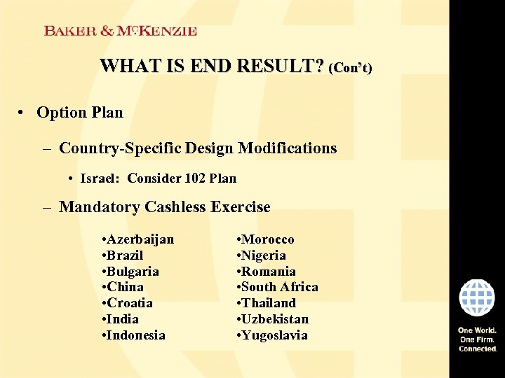 WHAT IS END RESULT? (Con't) • Option Plan – Country-Specific Design Modifications • Israel: