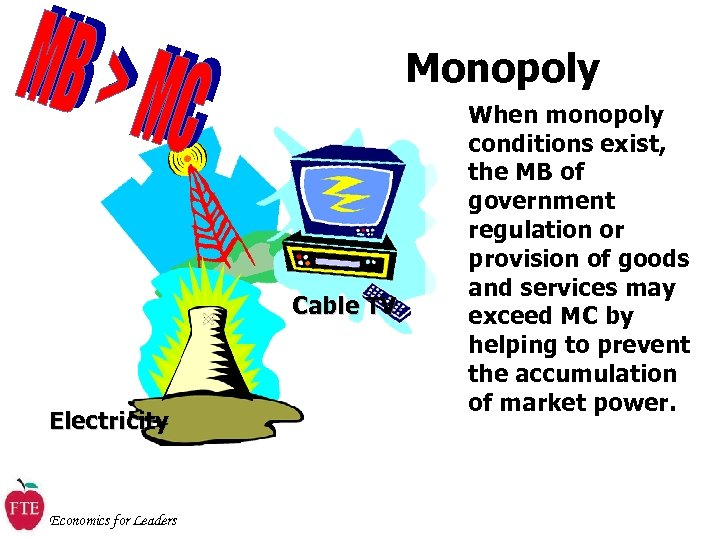 Monopoly Cable TV Electricity Economics for Leaders When monopoly conditions exist, the MB of