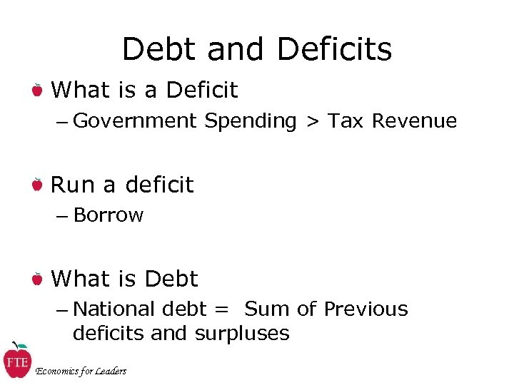 Debt and Deficits What is a Deficit – Government Spending > Tax Revenue Run