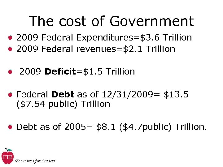 The cost of Government 2009 Federal Expenditures=$3. 6 Trillion 2009 Federal revenues=$2. 1 Trillion