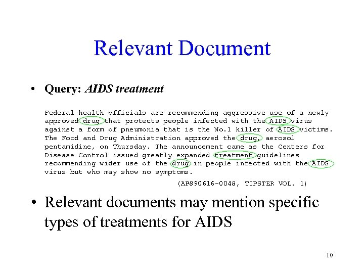 Relevant Document • Query: AIDS treatment Federal health officials are recommending aggressive use of