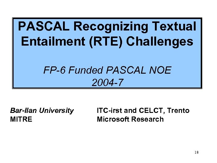 PASCAL Recognizing Textual Entailment (RTE) Challenges FP-6 Funded PASCAL NOE 2004 -7 Bar-Ilan University