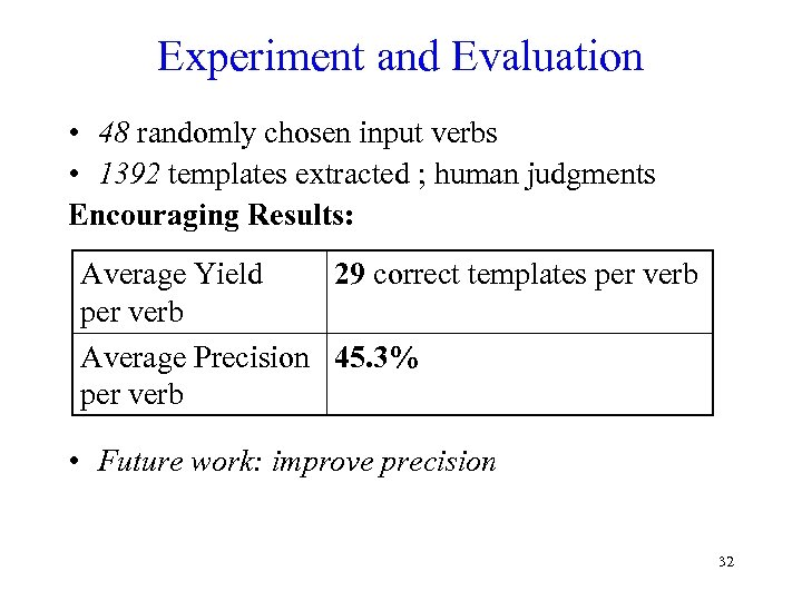 Experiment and Evaluation • 48 randomly chosen input verbs • 1392 templates extracted ;