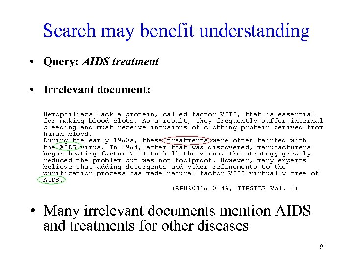 Search may benefit understanding • Query: AIDS treatment • Irrelevant document: Hemophiliacs lack a