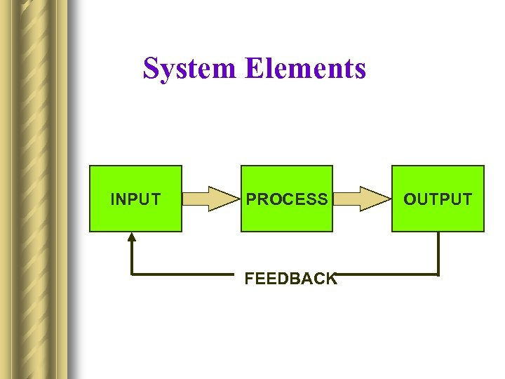 System Elements INPUT PROCESS FEEDBACK OUTPUT