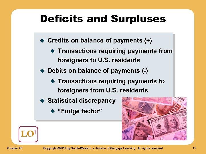 Deficits and Surpluses u Credits on balance of payments (+) u u Debits on