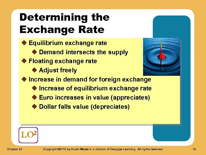 Determining the Exchange Rate u Equilibrium exchange rate u Demand intersects the supply u