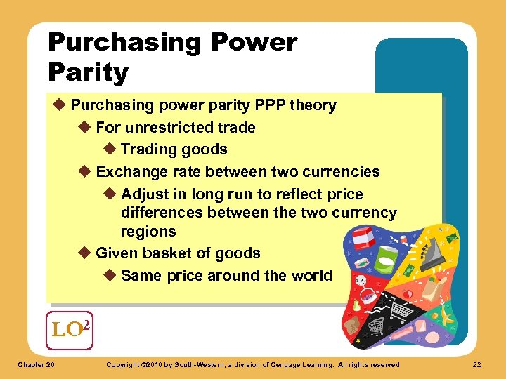 Purchasing Power Parity u Purchasing power parity PPP theory u For unrestricted trade u