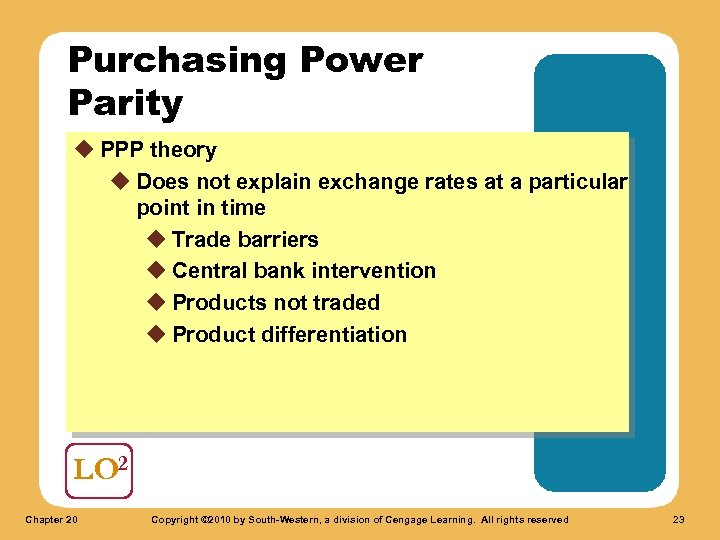 Purchasing Power Parity u PPP theory u Does not explain exchange rates at a