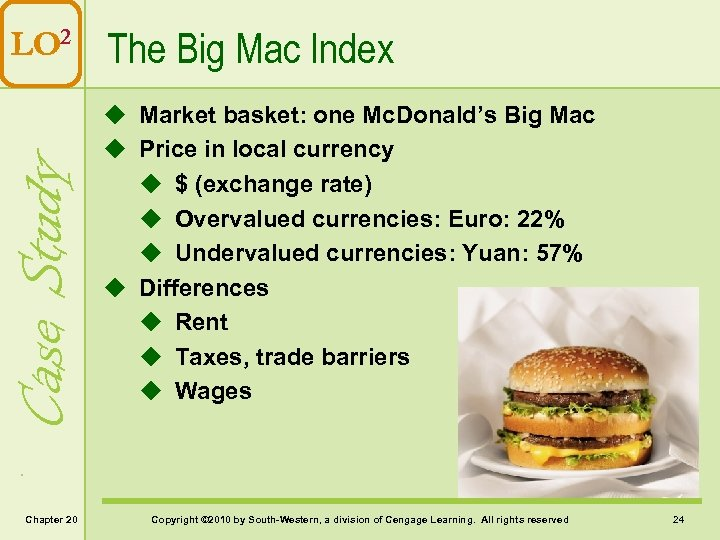 Case Study LO 2 The Big Mac Index Chapter 20 u Market basket: one