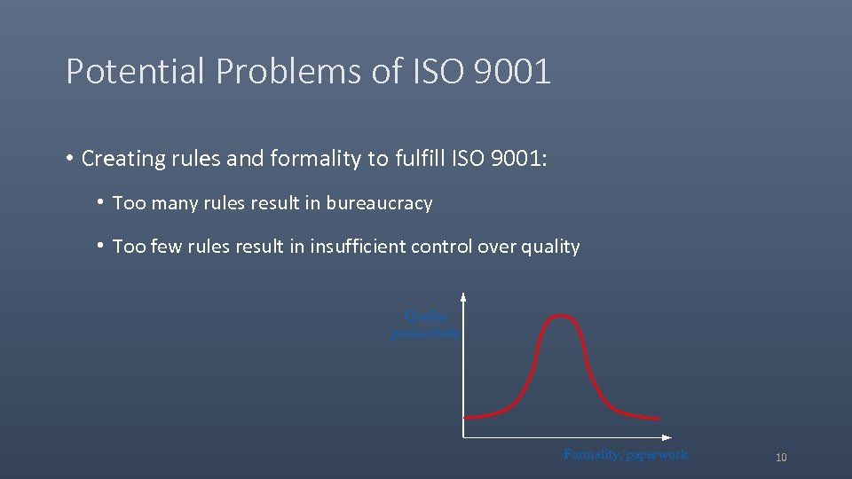 Potential Problems of ISO 9001 • Creating rules and formality to fulfill ISO 9001: