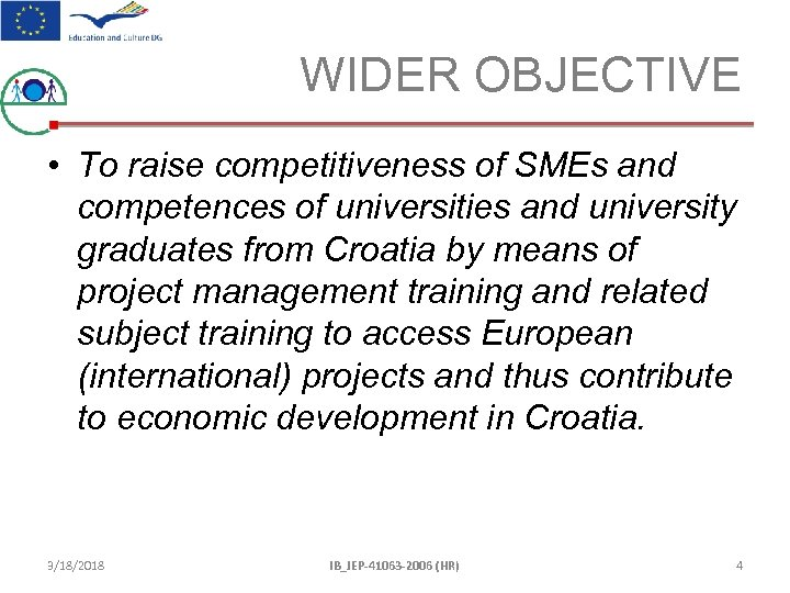 WIDER OBJECTIVE • To raise competitiveness of SMEs and competences of universities and university