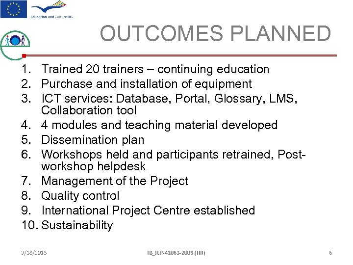 OUTCOMES PLANNED 1. Trained 20 trainers – continuing education 2. Purchase and installation of