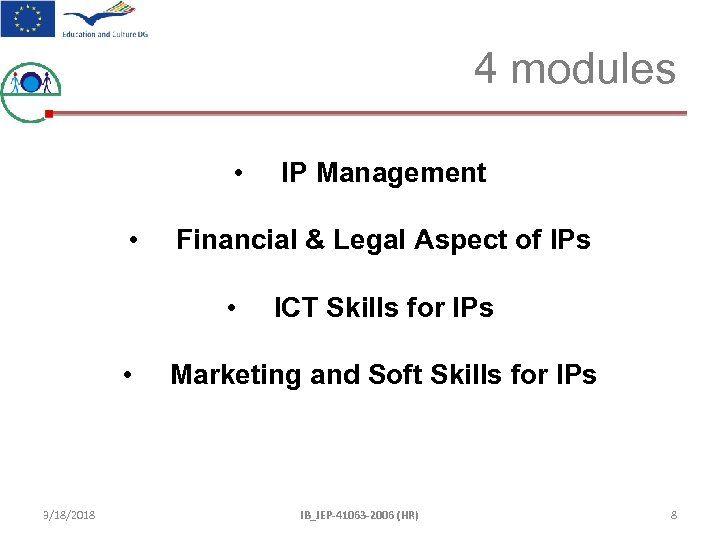4 modules • • Financial & Legal Aspect of IPs • • 3/18/2018 IP