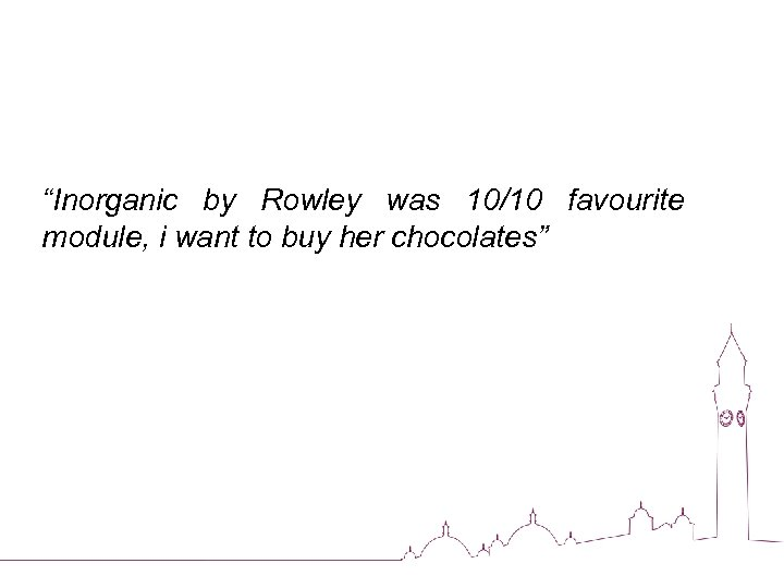 """""""Inorganic by Rowley was 10/10 favourite module, i want to buy her chocolates"""""""