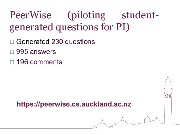 Peer. Wise (piloting studentgenerated questions for PI) o Generated 230 questions o 995 answers