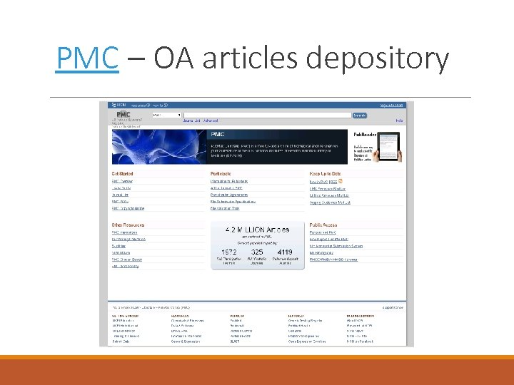 PMC – OA articles depository