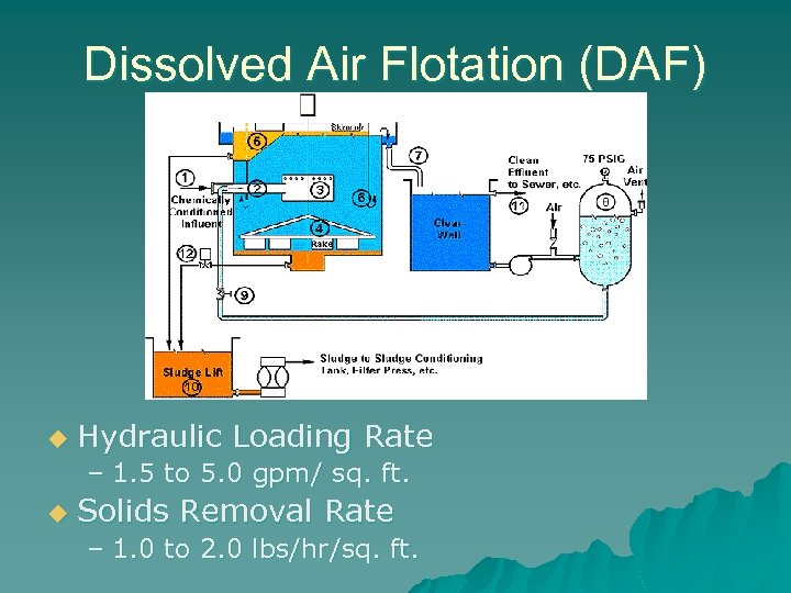 Dissolved Air Flotation (DAF) u Hydraulic Loading Rate – 1. 5 to 5. 0