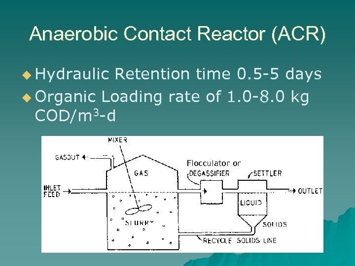 Anaerobic Contact Reactor (ACR) u Hydraulic Retention time 0. 5 -5 days u Organic