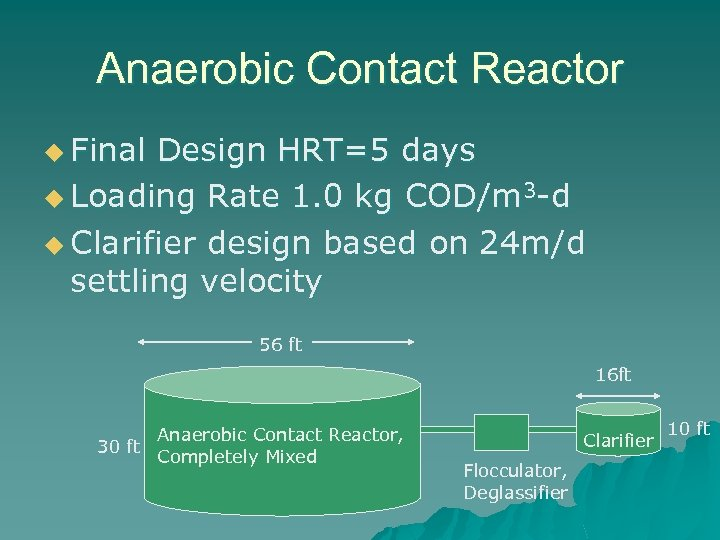 Anaerobic Contact Reactor u Final Design HRT=5 days u Loading Rate 1. 0 kg