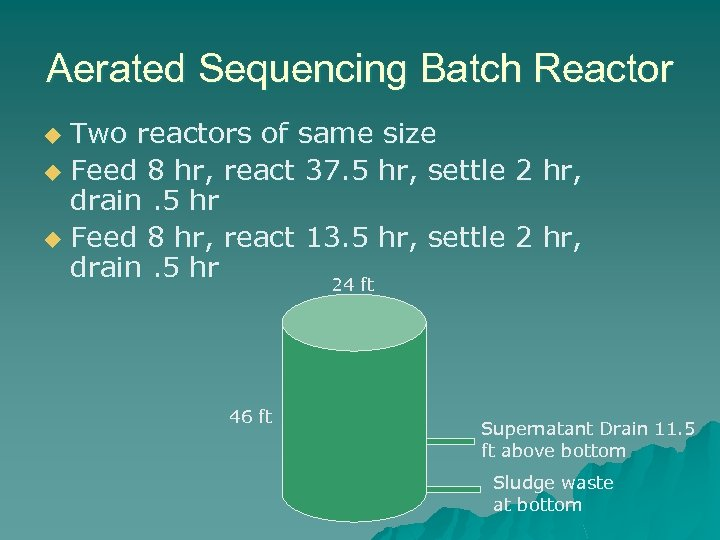Aerated Sequencing Batch Reactor Two reactors of same size u Feed 8 hr, react