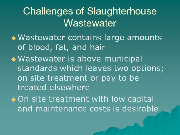 Challenges of Slaughterhouse Wastewater u Wastewater contains large amounts of blood, fat, and hair