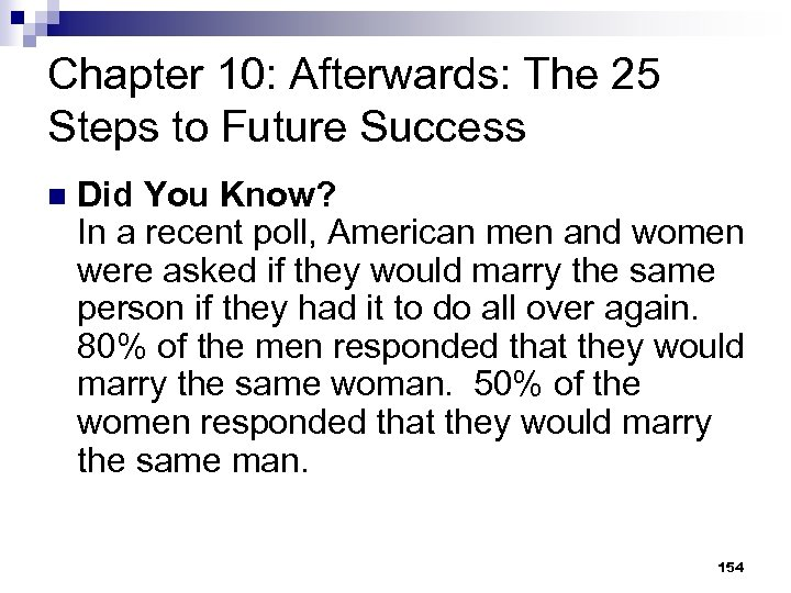 Chapter 10: Afterwards: The 25 Steps to Future Success n Did You Know? In