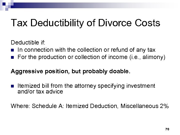 Tax Deductibility of Divorce Costs Deductible if: n In connection with the collection or