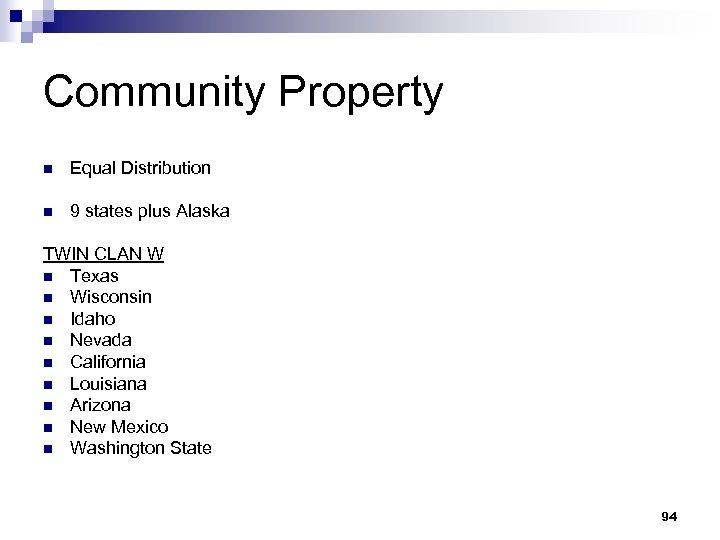Community Property n Equal Distribution n 9 states plus Alaska TWIN CLAN W n