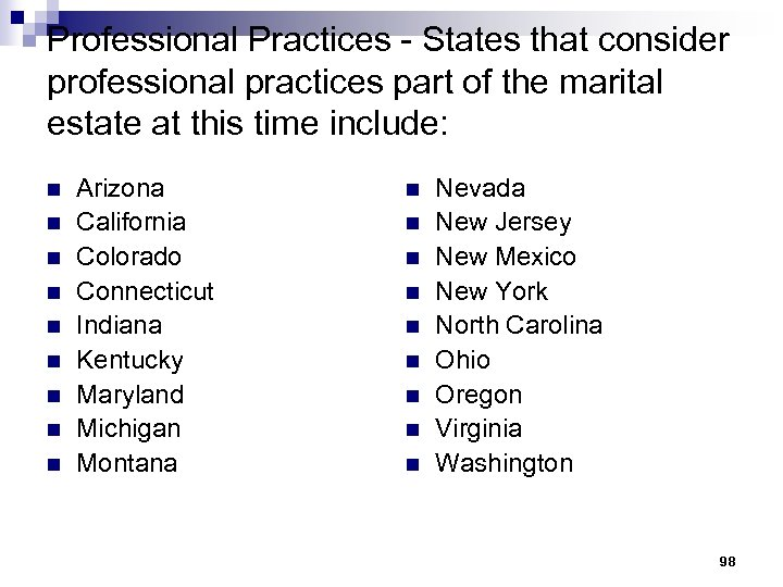 Professional Practices - States that consider professional practices part of the marital estate at