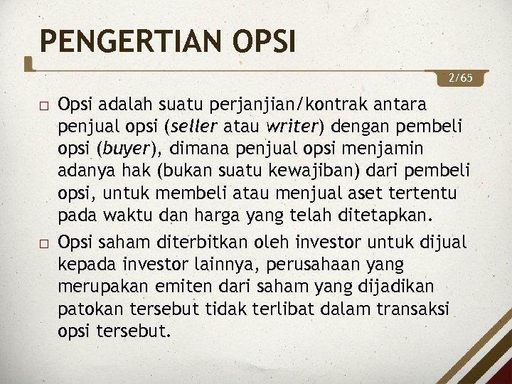kontrak opsi 1 perdagangan