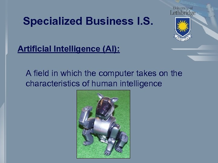 Specialized Business I. S. Artificial Intelligence (AI): A field in which the computer takes